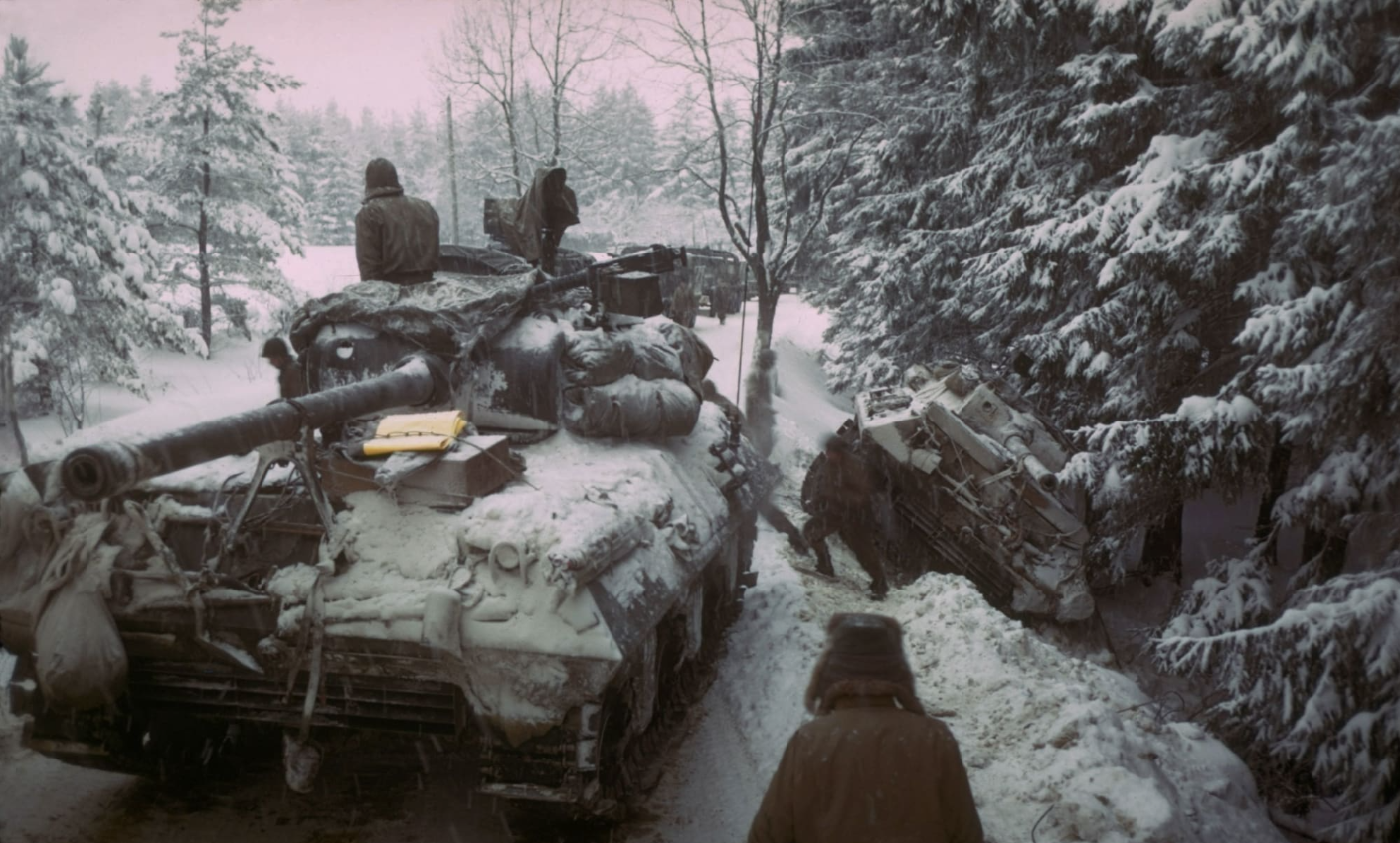 Soldiers in a tank during the Battle of the Bulge