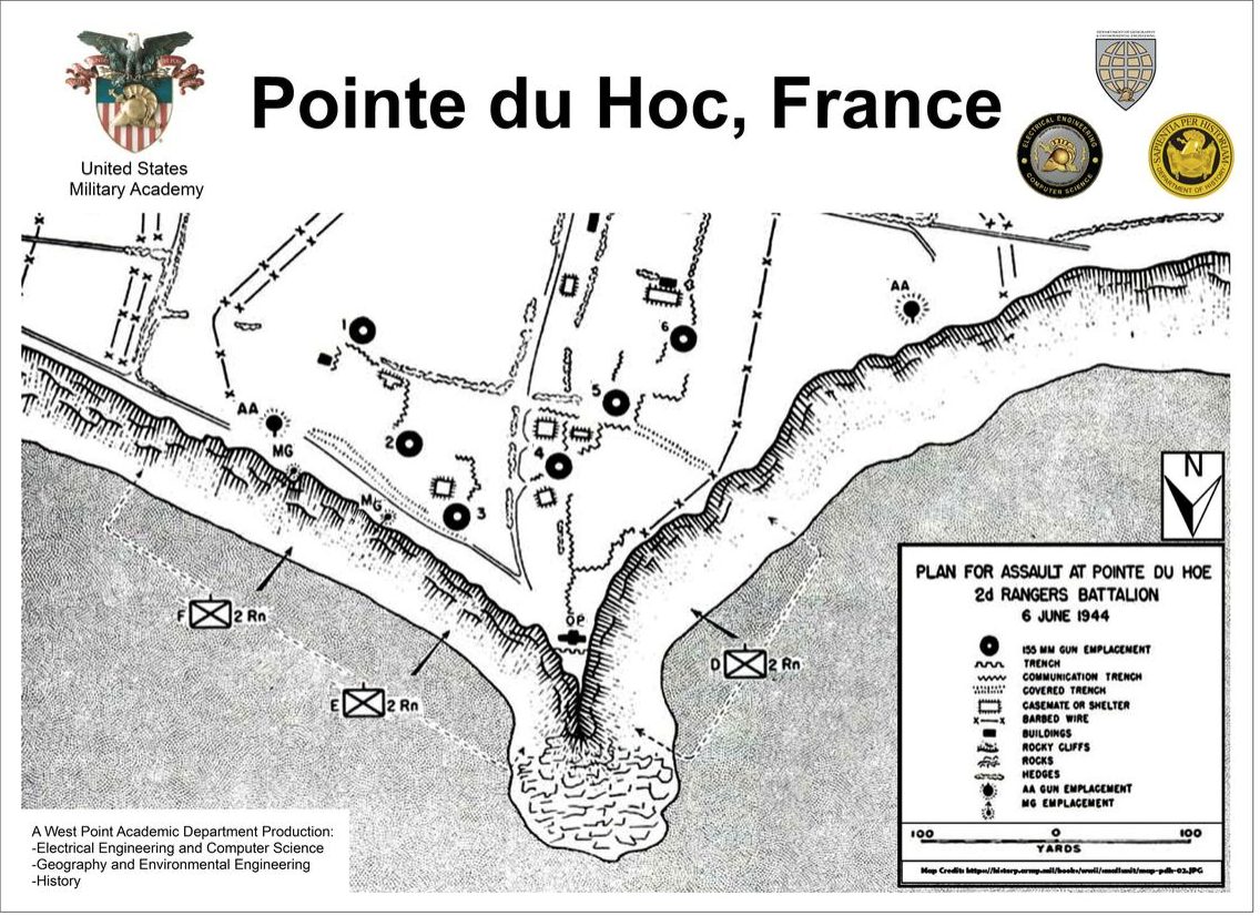US Military Academy map of Pointe-du-Hoc military operation on D-Day, June 6, 1944