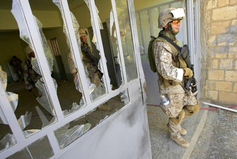 Marine patrols Iraqi school