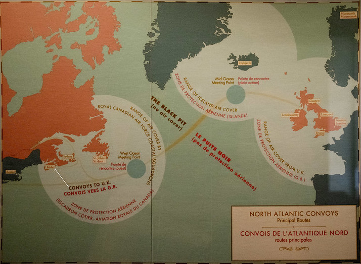 Map of routes by North Atlantic supply convoys during WW2