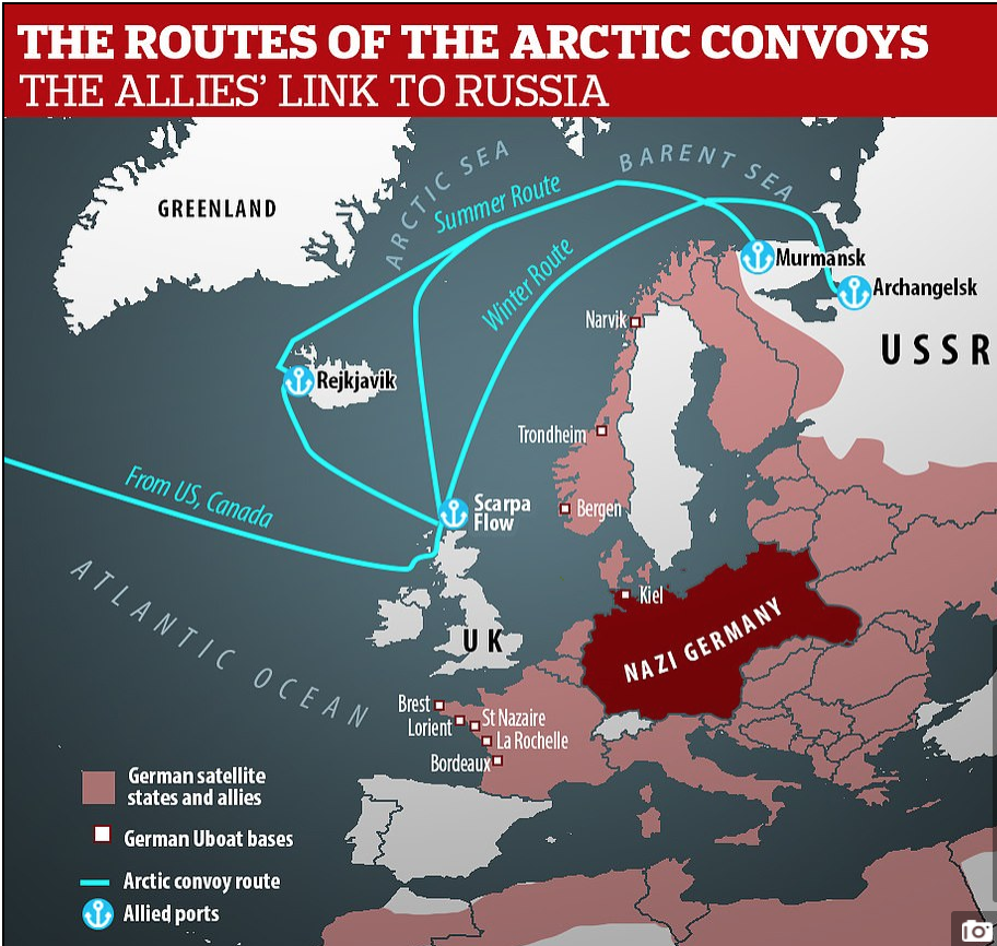 Map of Arctic convoy routes during World War 2