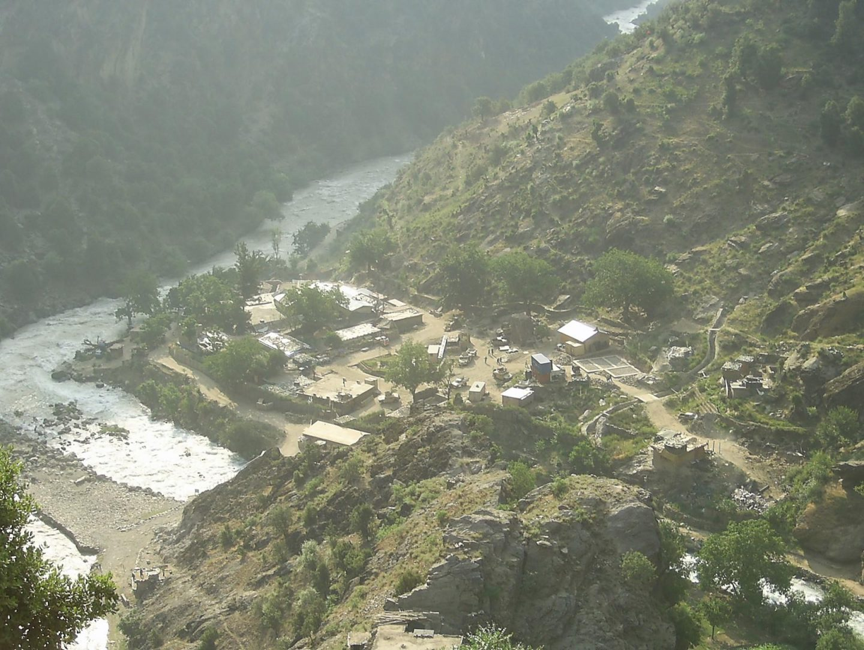 Aerial view of COP Keating US Army base in Afghanistan