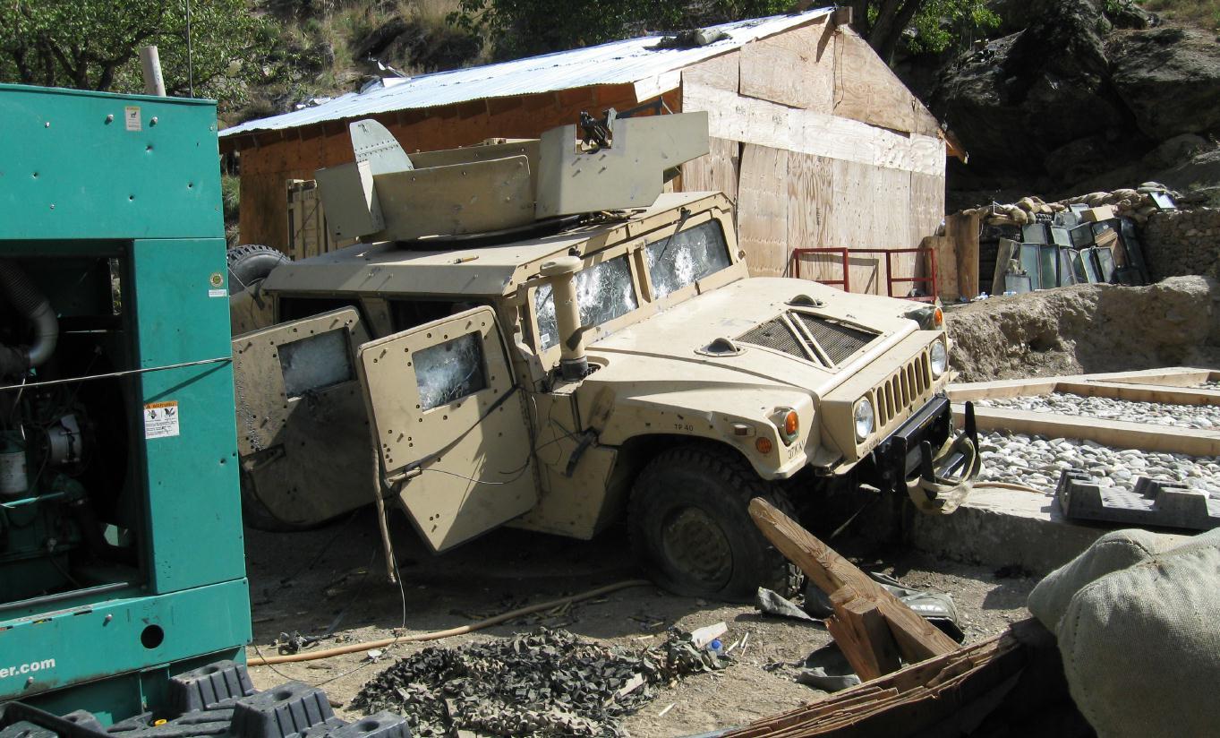 Destruction at COP Keating following the Battle of Kamdesh