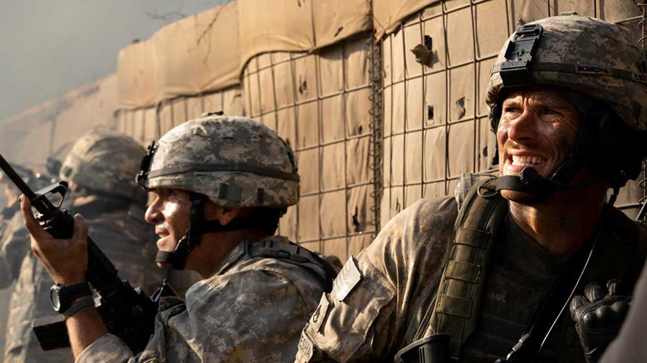 Scott Eastwood and other actors playing soldiers in the film The Outpost