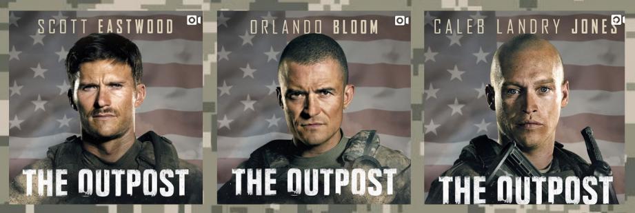 Headshots of The Outpost actors Scott Eastwood, Orlando Bloom and Caleb Landry Jones
