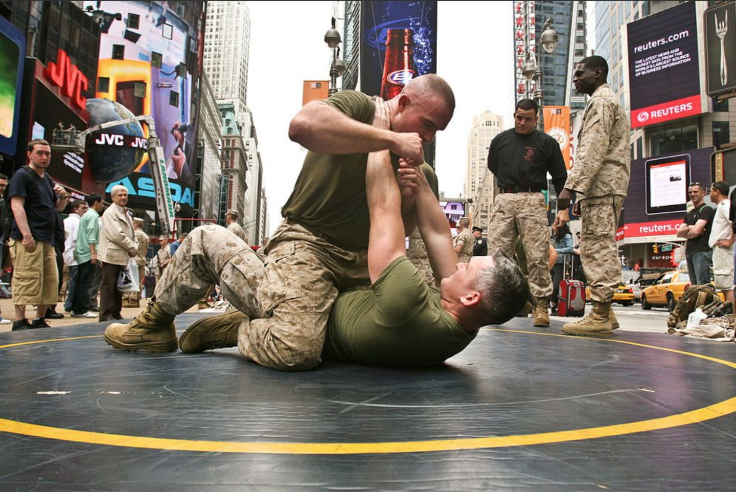 US Marines demonstrate their martial arts moves in Times Square, NY