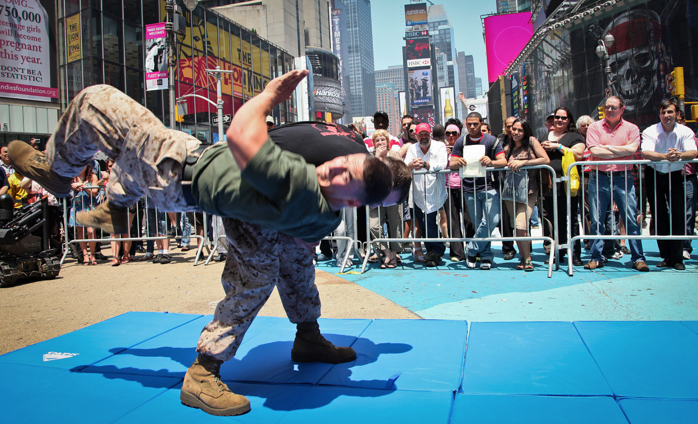 US Marine fighters demonstrate martial arts in Times Square, NY