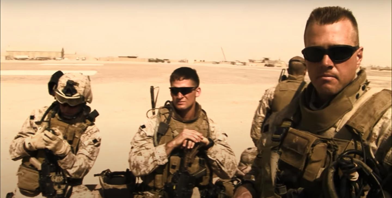 U.S. Marines at Camp Fallujah in the Iraq War documentary Alpha Company: Iraq Diary