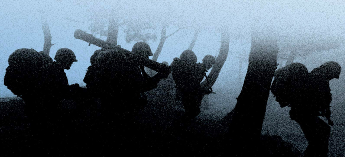 Cover illustration of soldiers walking in the fog from the book The Things They Carried by Tim O'Brien