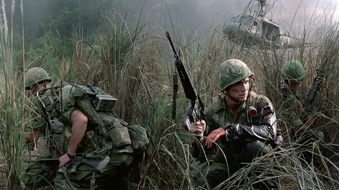 Soldiers fight in a scene from the Vietnam war film Hamburger Hill