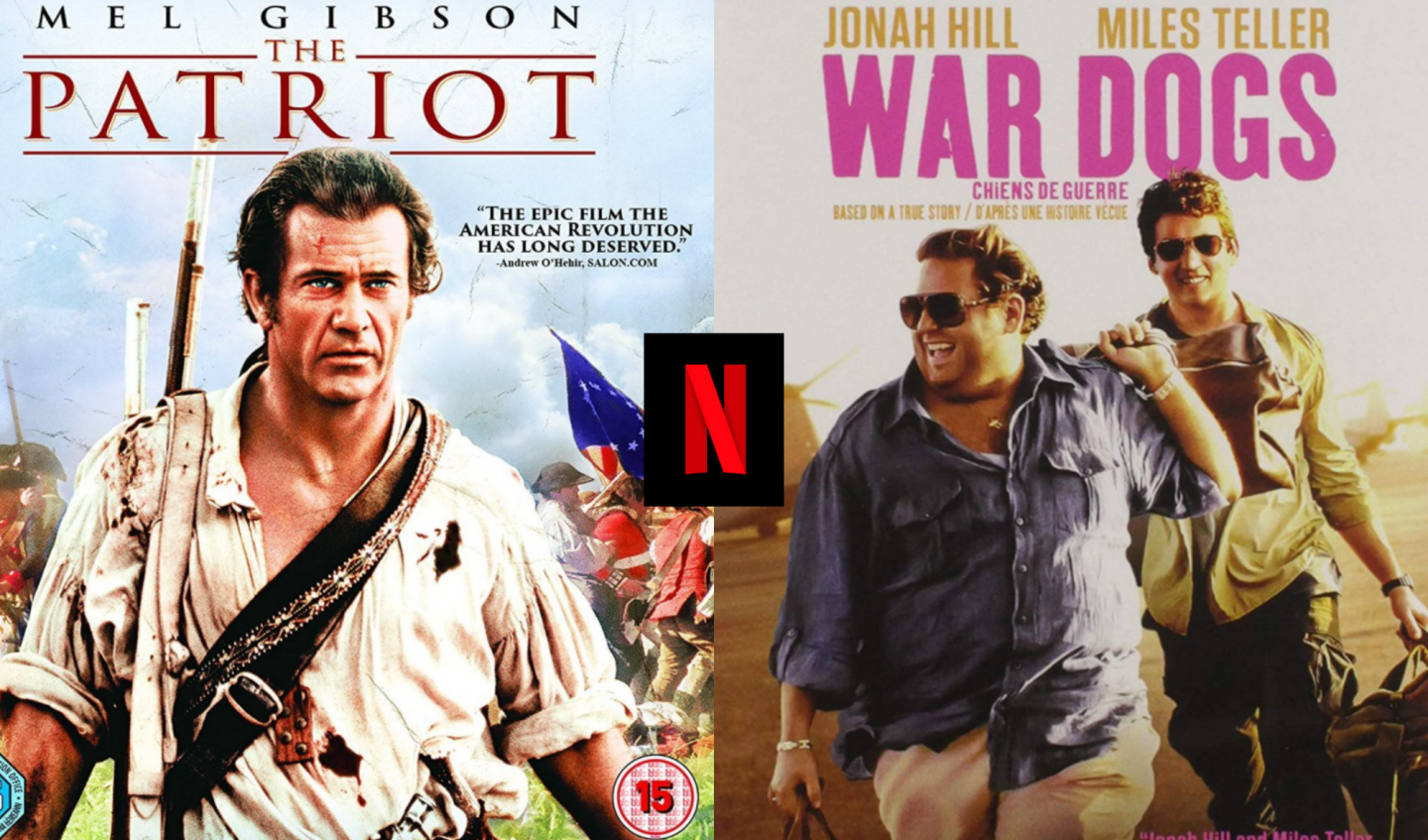 Movie posters for The Patriot and War Dogs with the Netflix logo