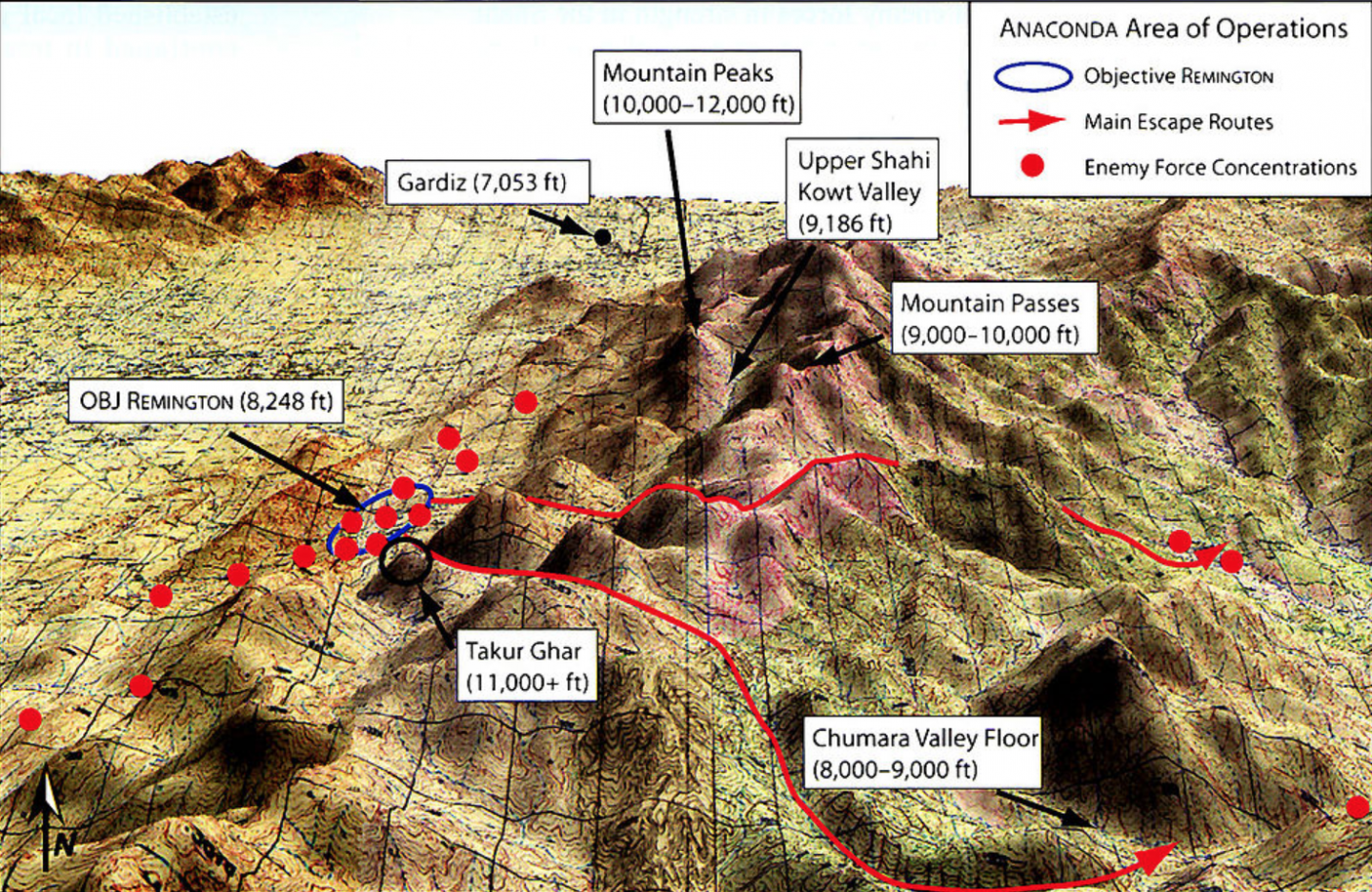 Map of Operation Anaconda in the Shah-i-Kat Valley of Afghanistan