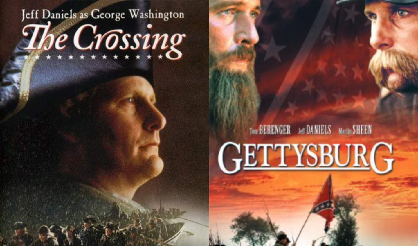 Movie posters for The Crossing and Gettysburg to illustrate blog post on George Washington and Abraham Lincoln