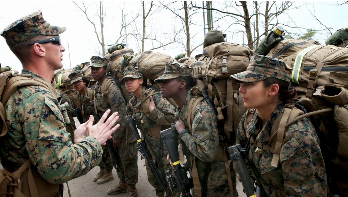 Marine Corps drill sergeant with new recruits