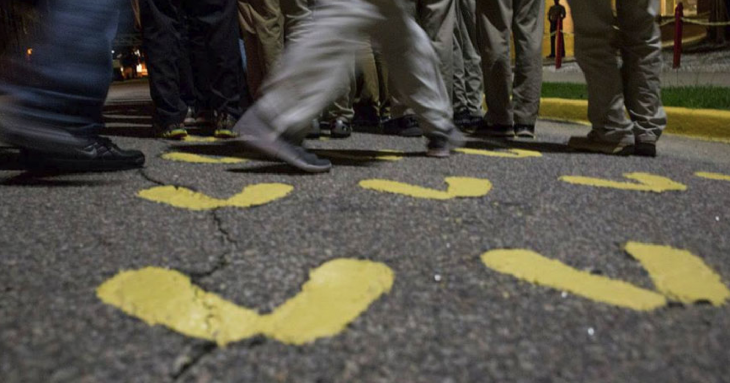 The yellow footprints new recruits stand on at Parris Island Marine bootcamp