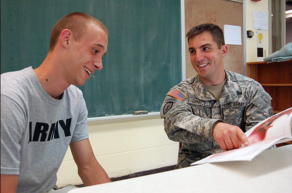 U.S. Army recruit talks about career specialties with a recruiter