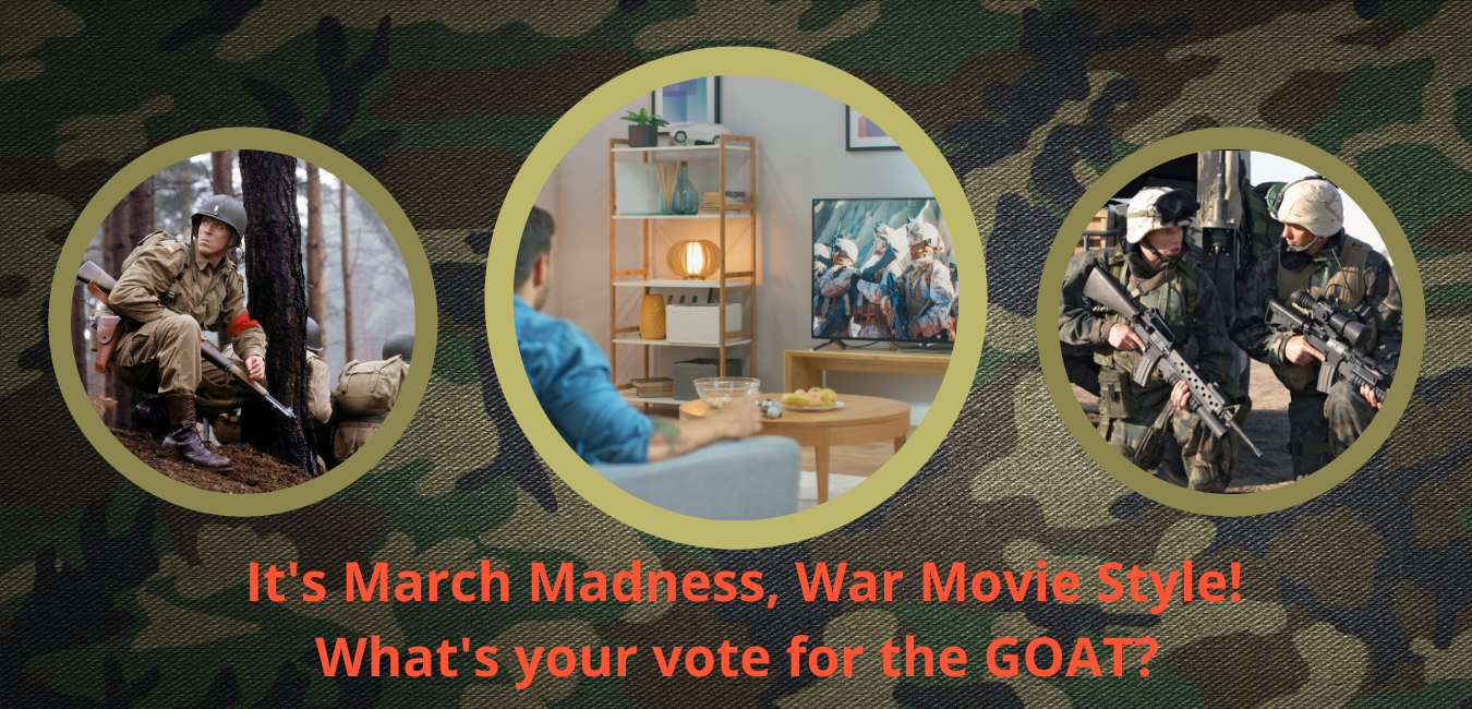 A man watching a war movie on TV with smaller photos of soldiers