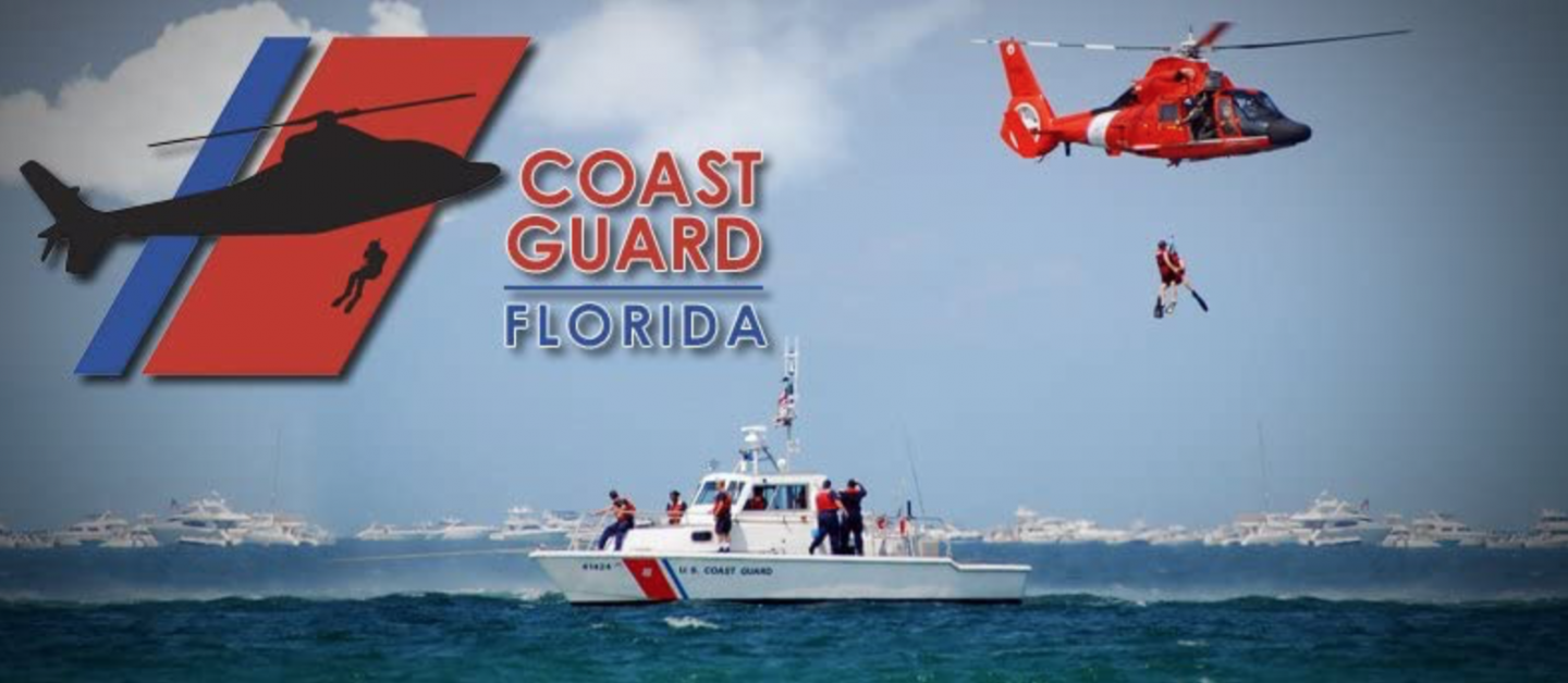 Coast Guard boat and helicopter in promotional photo for Coast Guard: Florida