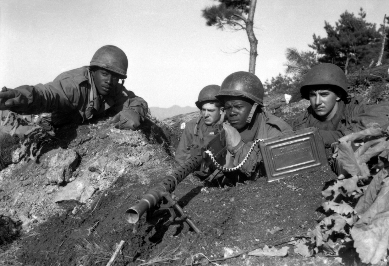 Racially integrated combat unit of soldiers during the Korean War