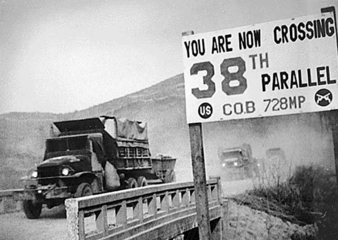 U.S. troops cross 38th parallel into North Korea during the Korean War