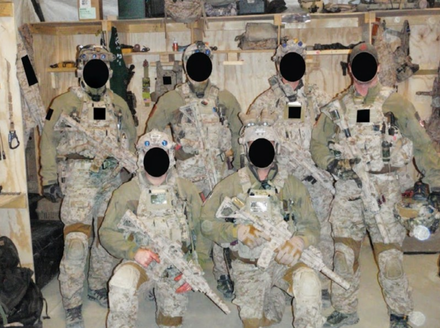 Photo of Seal Team 6 with their faced blacked out taken during the May 2, 2011 raid on Osama bin Laden's compound