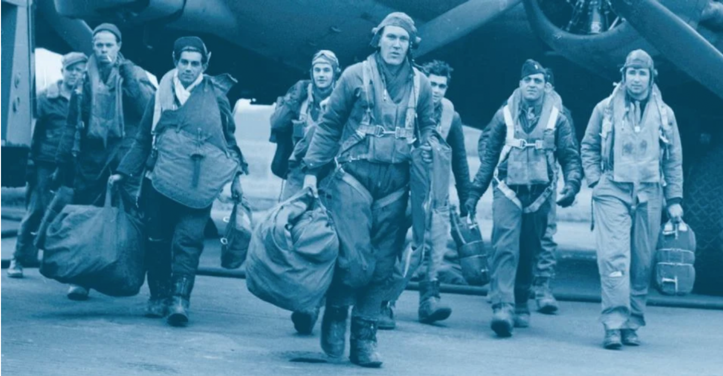 Airmen from the Mighty Eighth as pictured on the cover of Masters of the Air by Donald L. Miller