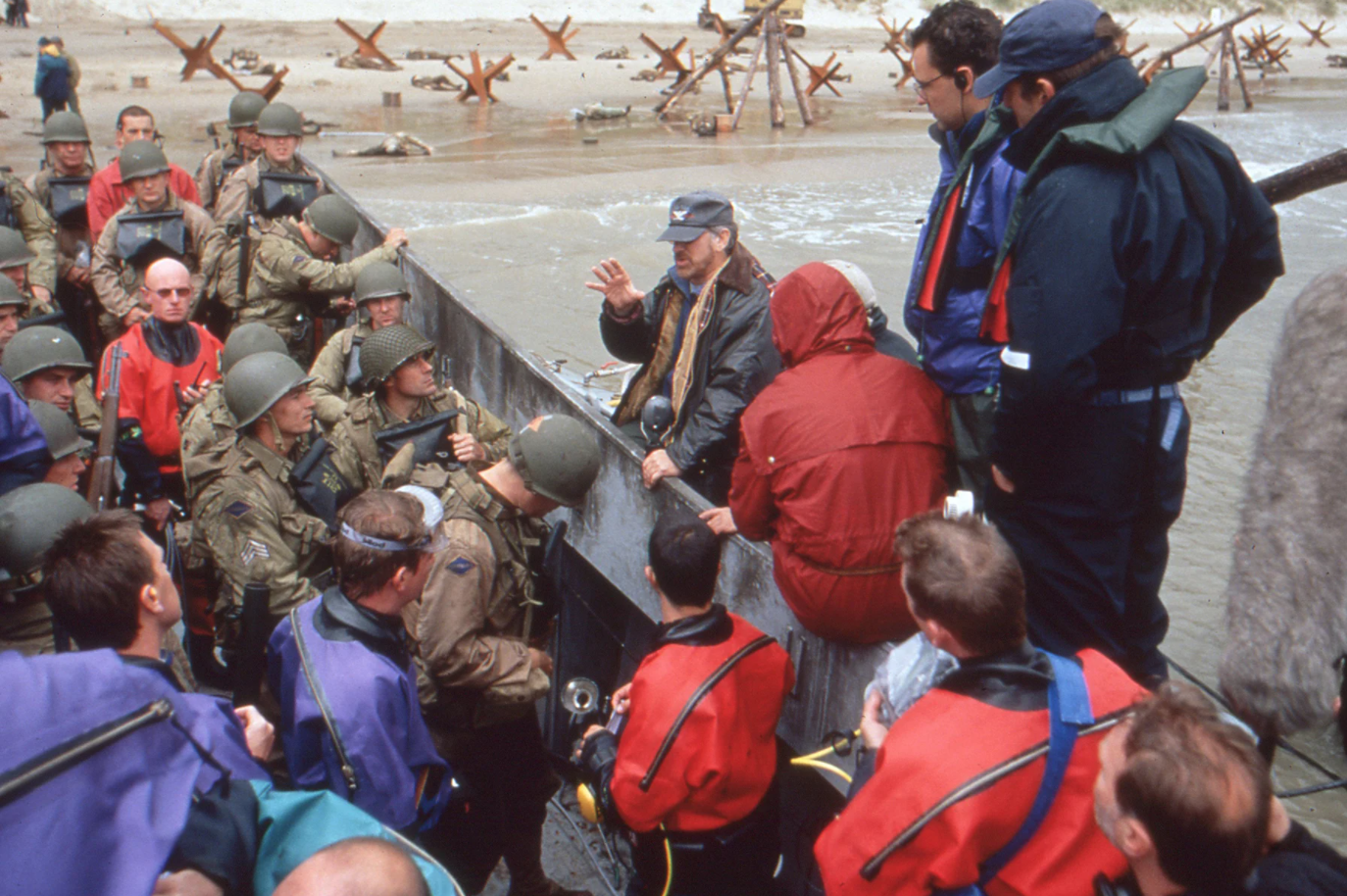 Steven Spielberg directs his actors as they prepare to land on Omaha Beach