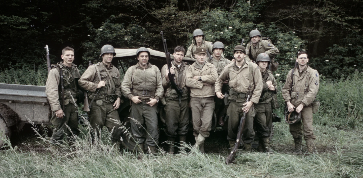 Technical advisor Dale Dye with actors from Saving Private Ryan